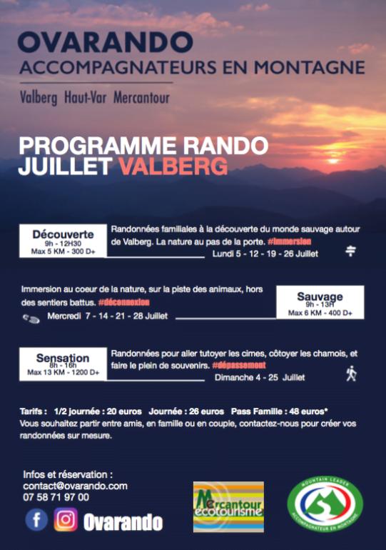 Programme juillet Ovarando